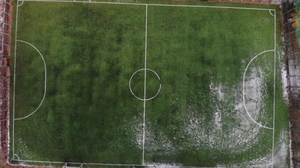 Aerial shot of amateur soccer field. 4k footage