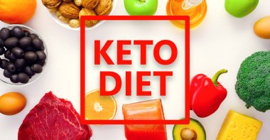 Photo on top of piece of meat, fish, cheese, eggs, vegetables, fruits, olives, walnuts on white background.Ingredients for ketogenic diet.