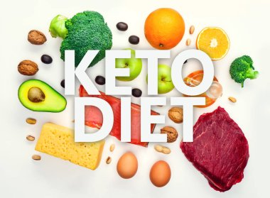 Picture on top of products for ketogenic diet.