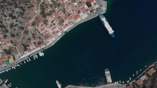 wonderful deep blue sea bay with drifting boats at city