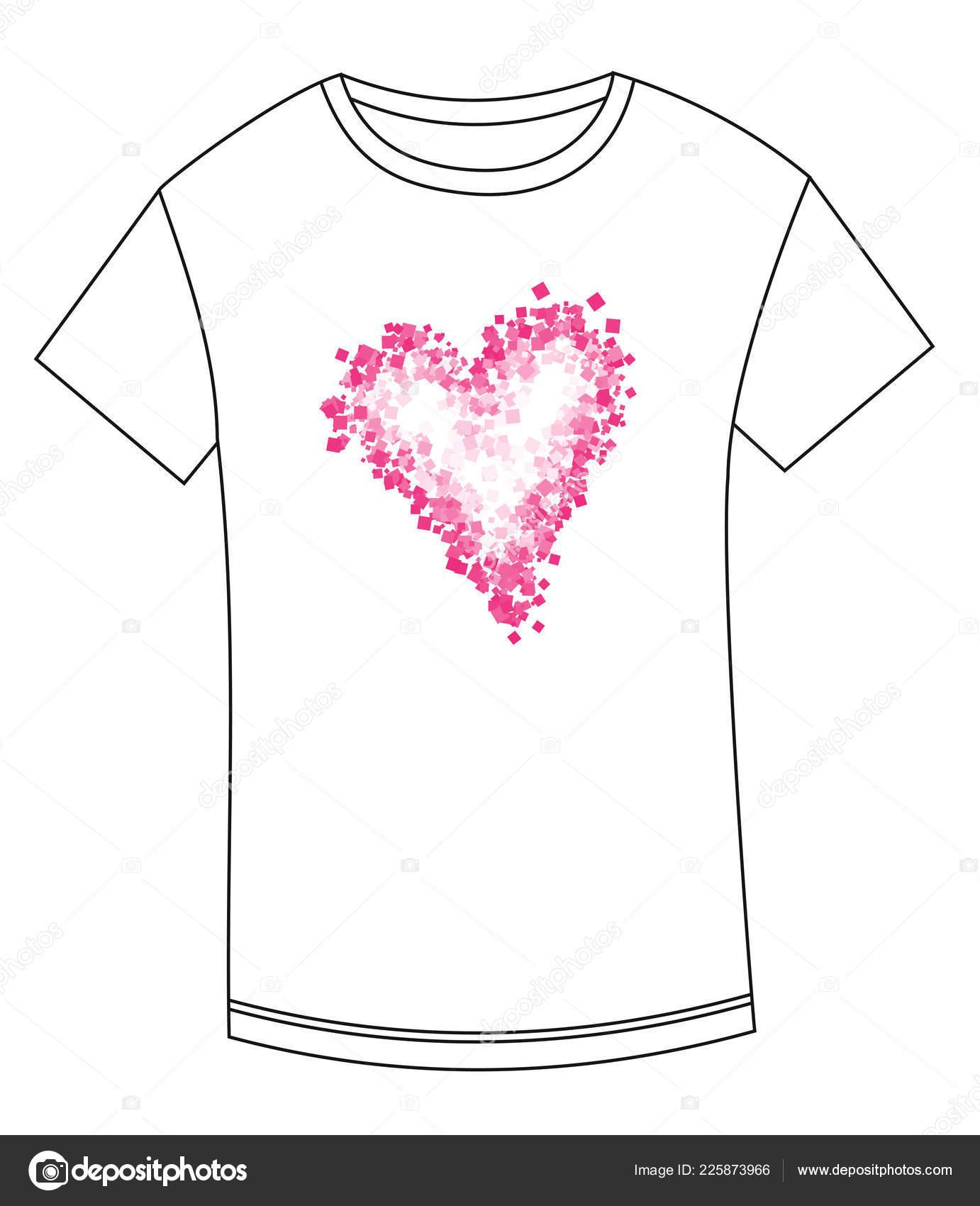 1969db337f17 Tričko Abstraktní Kresba Srdce Srdce Tisk Trička Srdce Valentýna Triko —  Stockový vektor