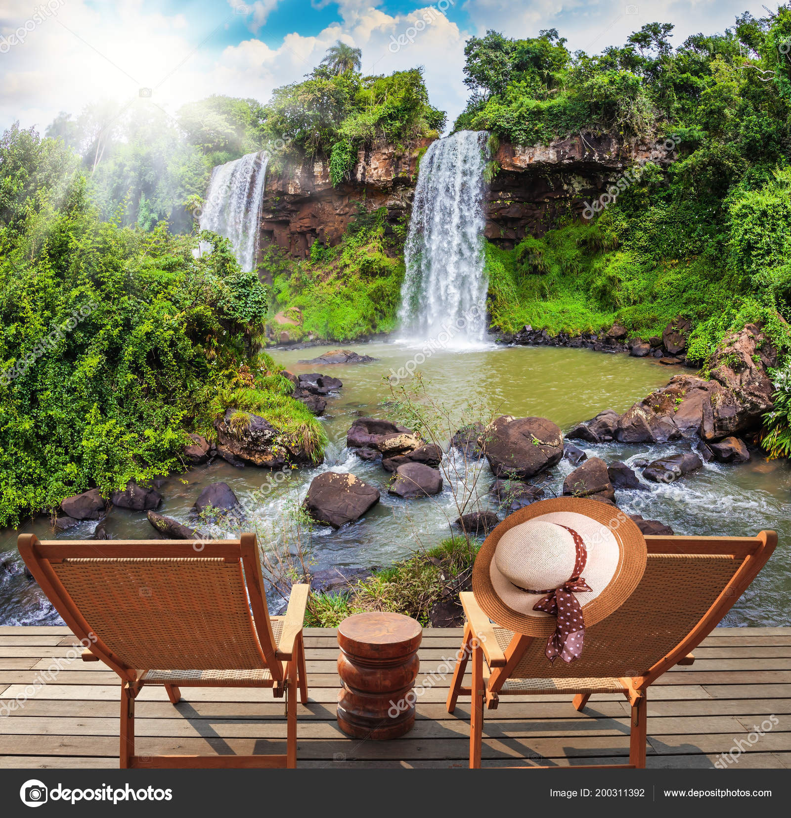 Two Waterfalls Iguazu Falls Fall Small Quiet Pond Concept Ecological