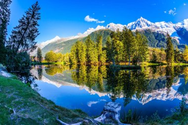 Magically beautiful park in the mountain resort of Chamonix. Large stump on the shore of the lake. Snowy Alps are reflected in the lake. Concept of active and ecotourism