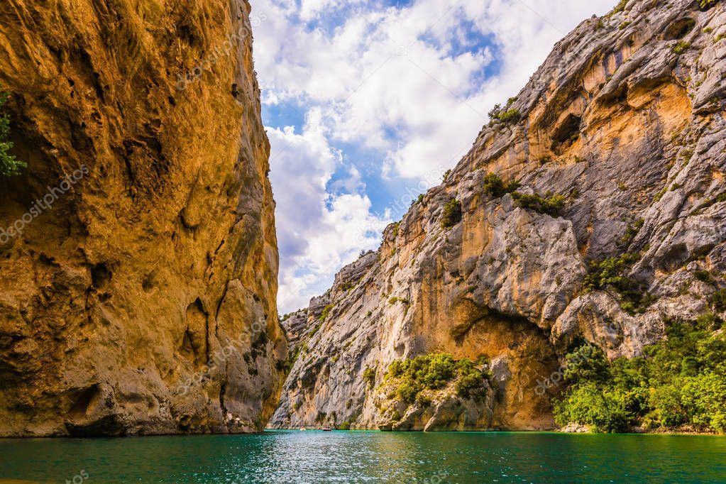 Fascinating journey through azure waters. Verdon River, Provence Alps, France.