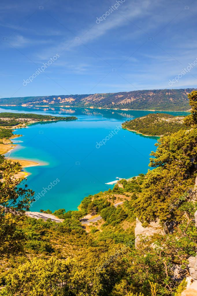 The river flow in Verdon Canyon. Fascinating journey through the azure waters. The Verdon River, Provence Alps, France. Concept of ecological and active tourism