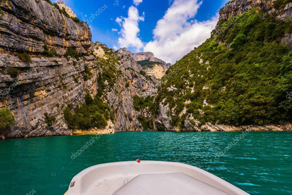 Walking by water bike along Verdon River in Mercantour Park, Provence Alps, France