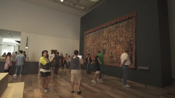 People looking at exhibits in the new Louvre Museum in Abu Dhabi stock footage video