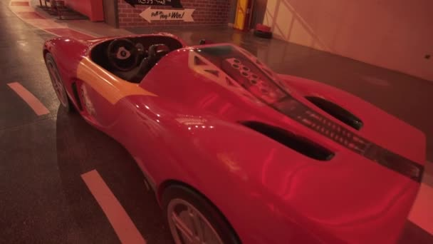 Attraction Fiorano GT Challenge in the theme park Ferrari World Abu Dhabi stock footage video