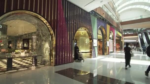 Dubai, UAE - April 09, 2018: Dubai Mall interior is the worlds largest shopping center stock footage video