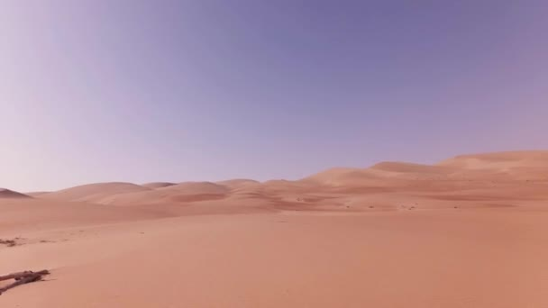 Traveling on an off-road car on the sand of Rub al Khali desert stock footage video