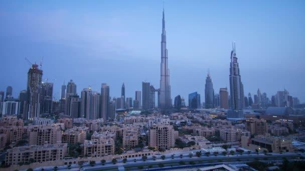 Burj Khalifa and Downtown Dubai at dawn Time-lapse stock footage video