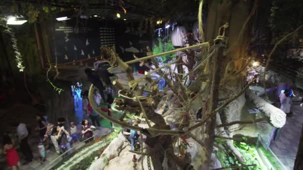 People are watching animals in the Underwater Zoo in Dubai Mall stock footage video