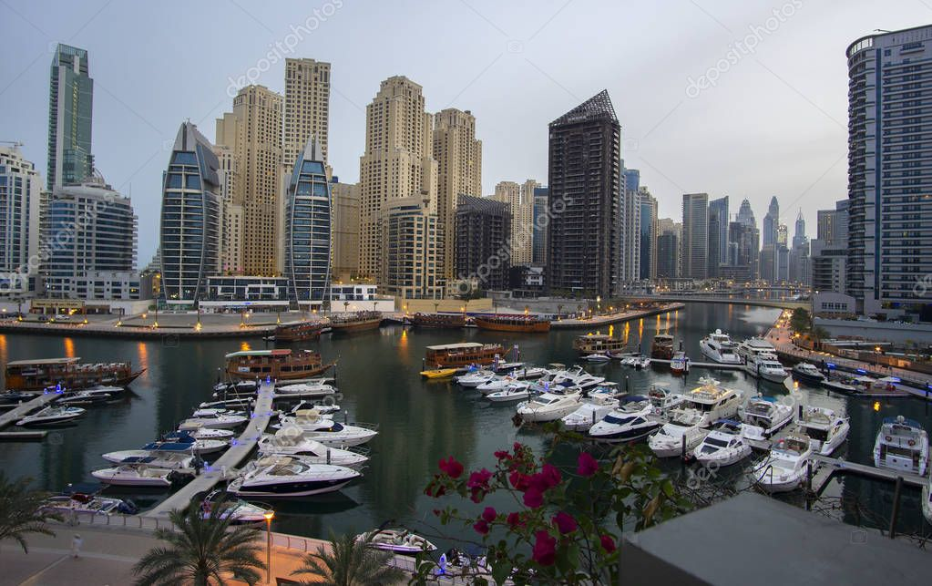 Dubai, UAE - April 02, 2018: Evening view at the fashionable district Dubai Marina