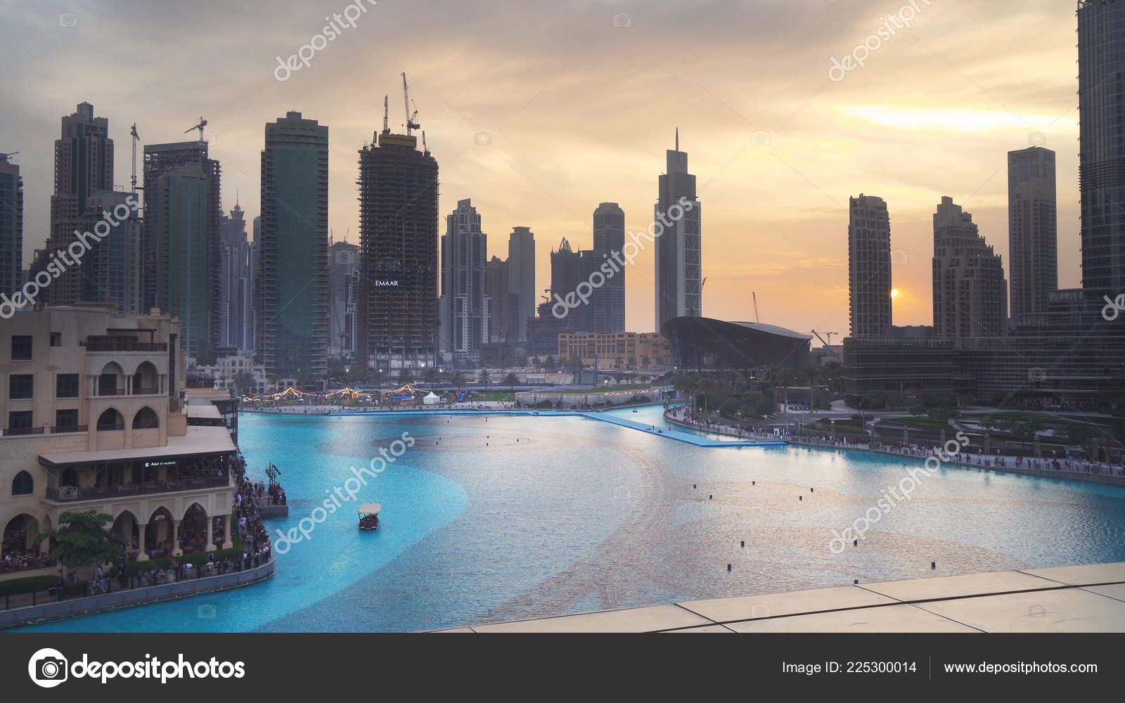 Modern Architecture Downtown Dubai Around The Burj Khalifa Lake At
