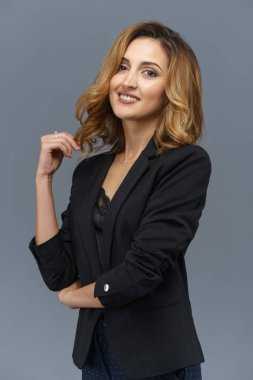 Business woman weared black suit