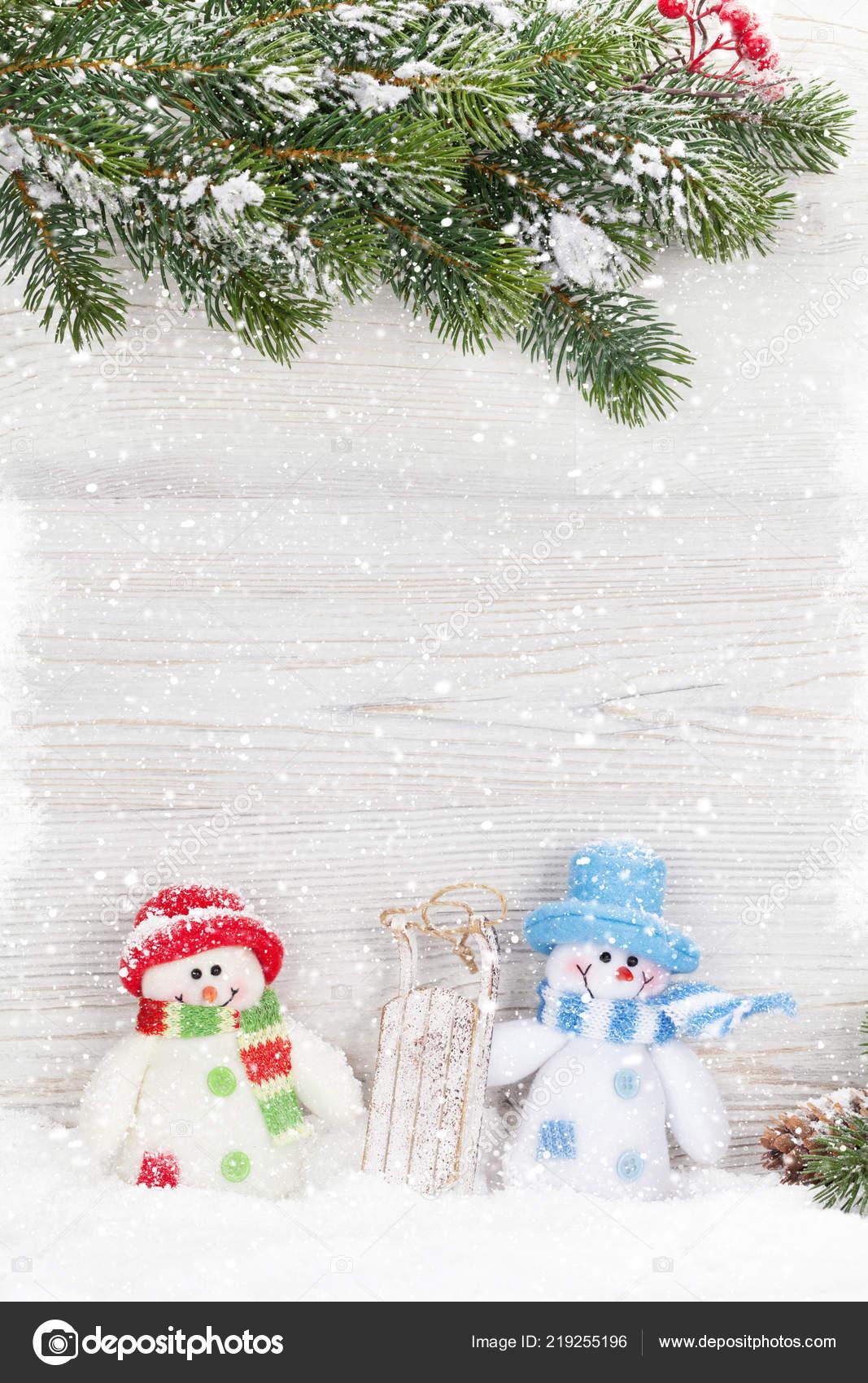Christmas Snowman Toy Decor Fir Tree Branch Xmas Greeting Card ...