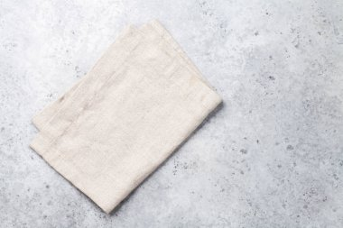 Cooking stone table with old linen kitchen towel