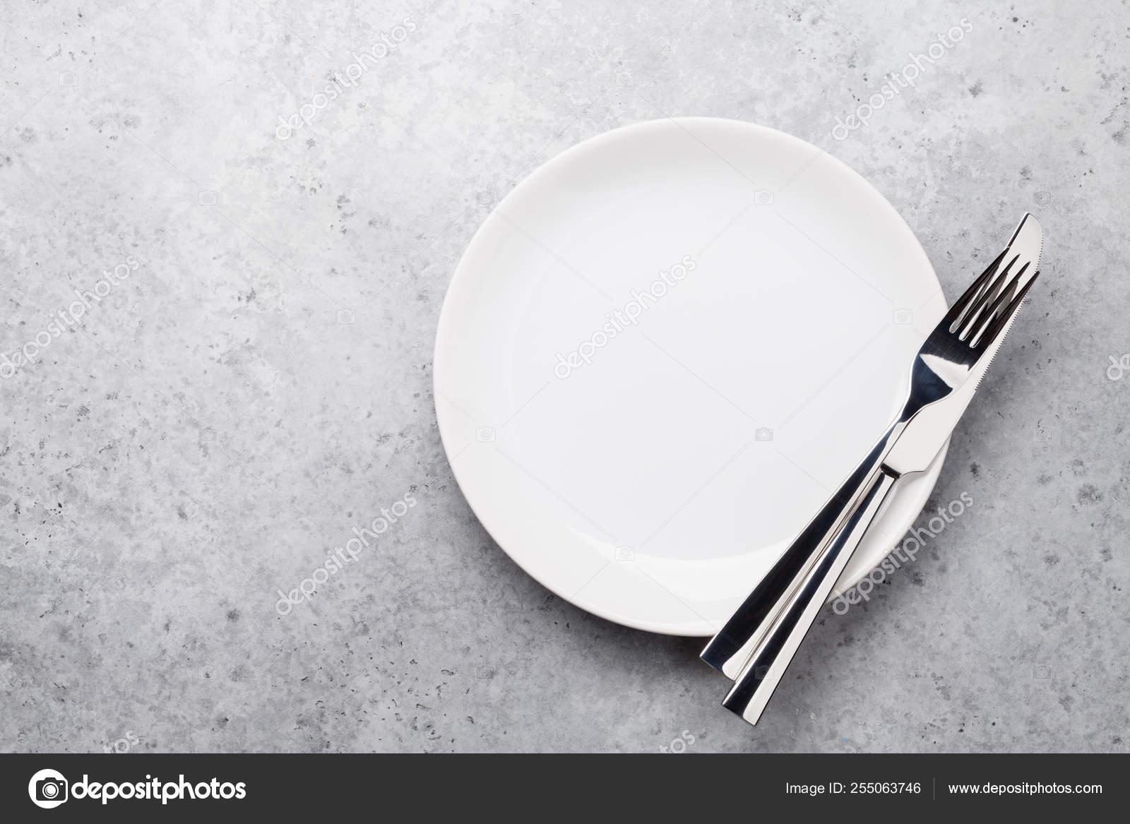 Dinner Plate Setting Cutlery Stone Background Stock Photo Image By Karandaev 255063746