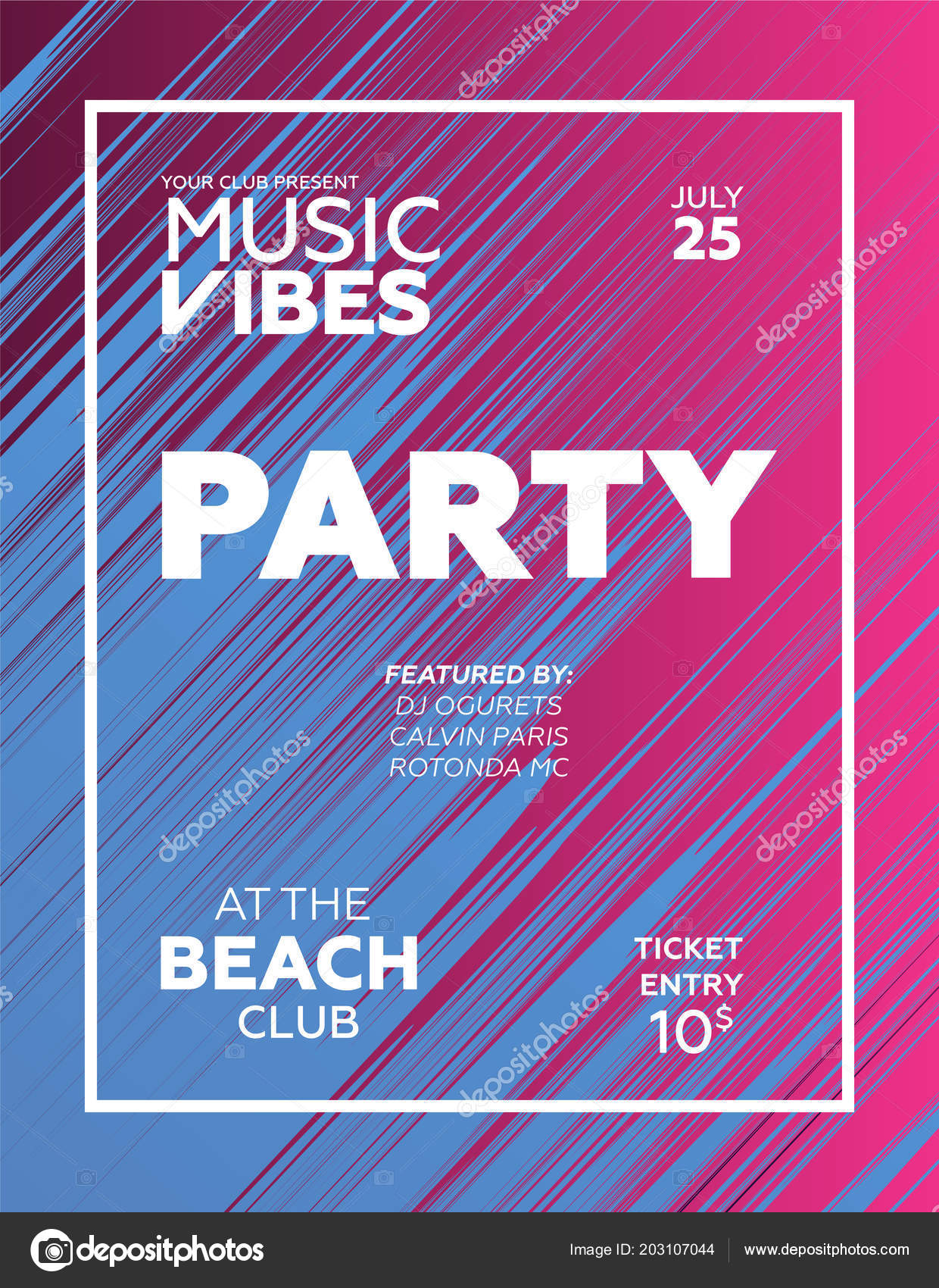 party poster night club template invitation summer party modern