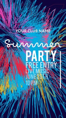 Night Party banner template for art event promotion. Glowing fiber effect background. Colorful splash backdrop. Ladies night, karaoke party, deep trance music, summer party.