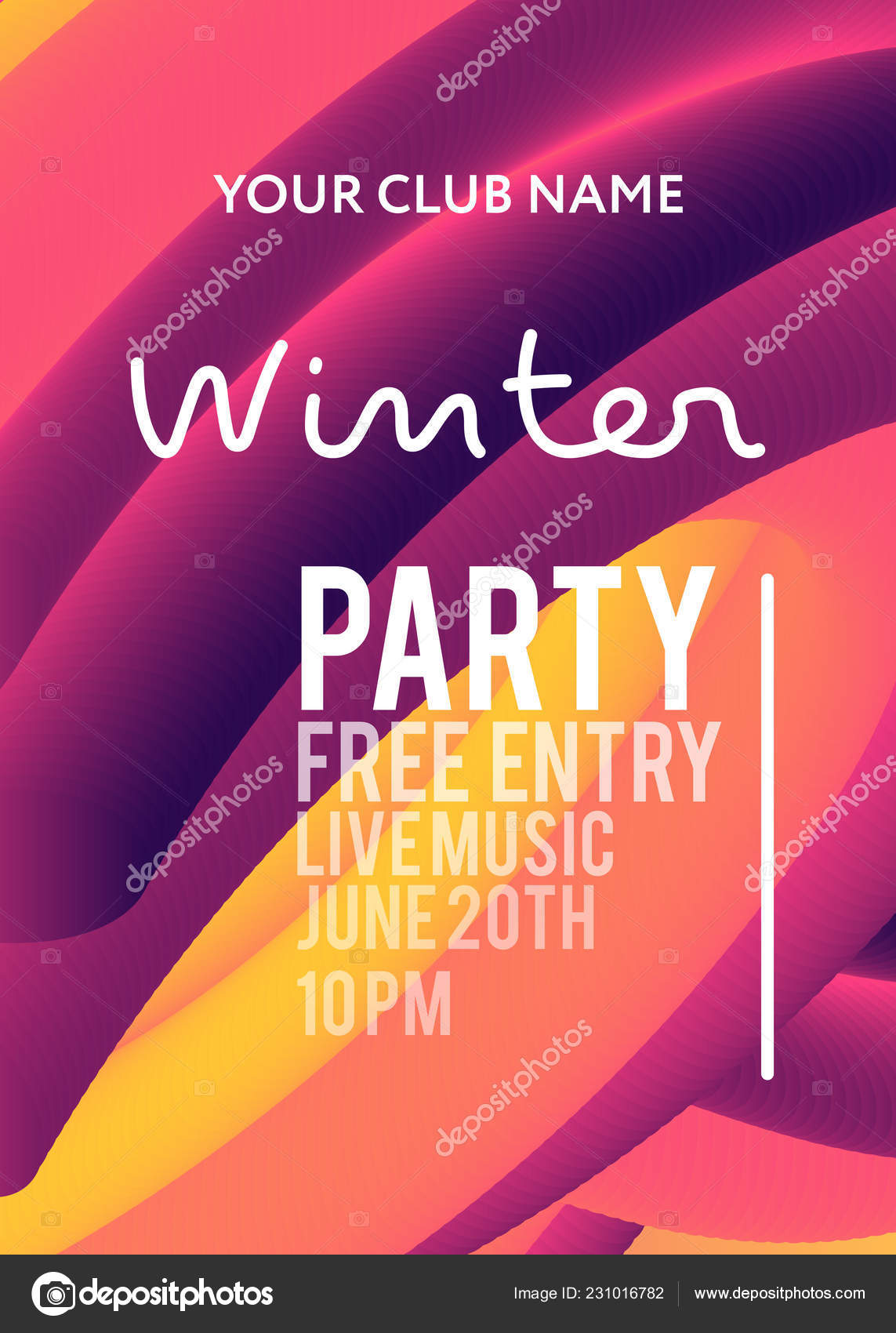 Night Party Banner Template Art Event Promotion Glowing
