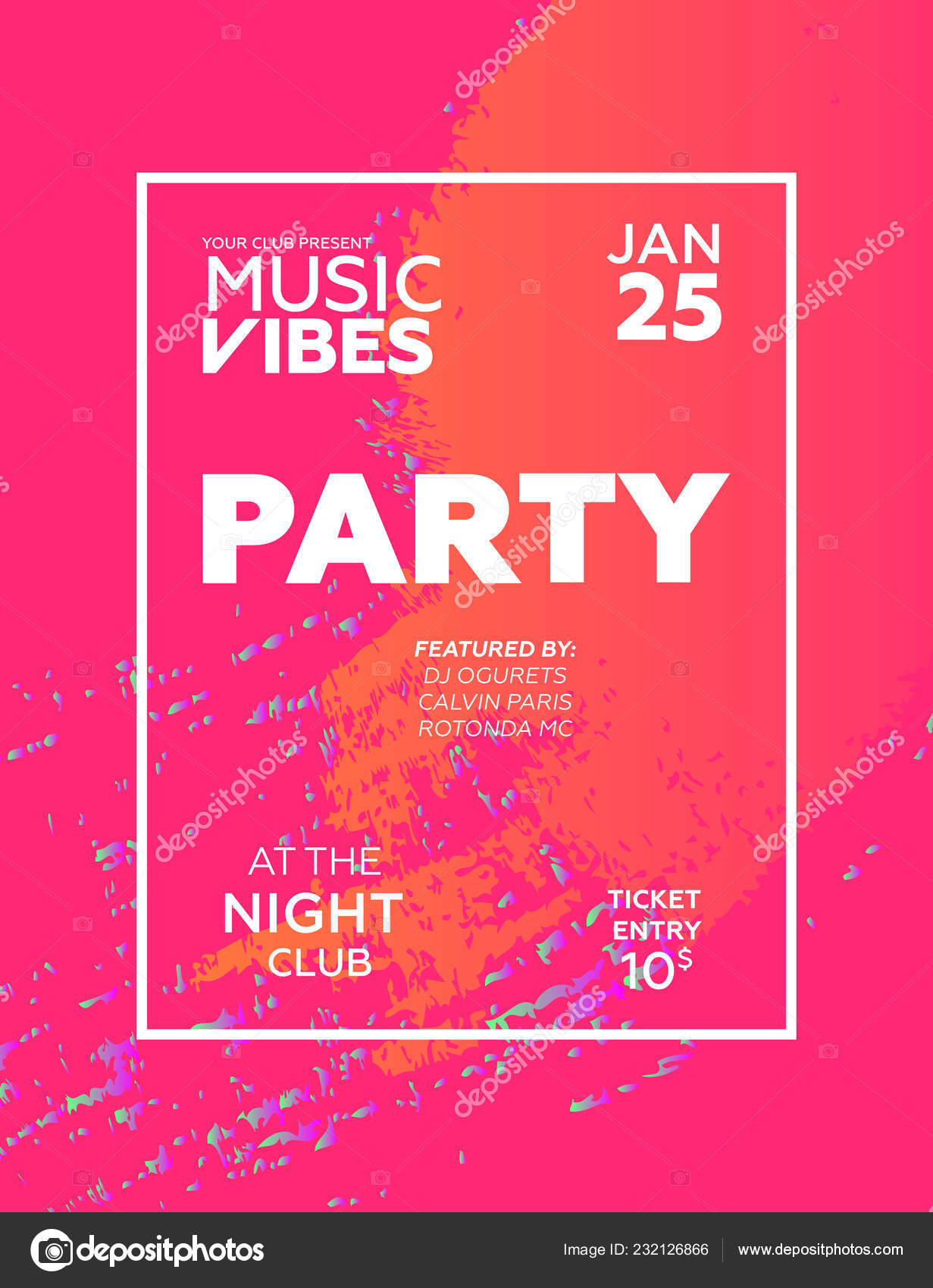 Night Party Banner Template Art Event Promotion Glowing Fiber Effect