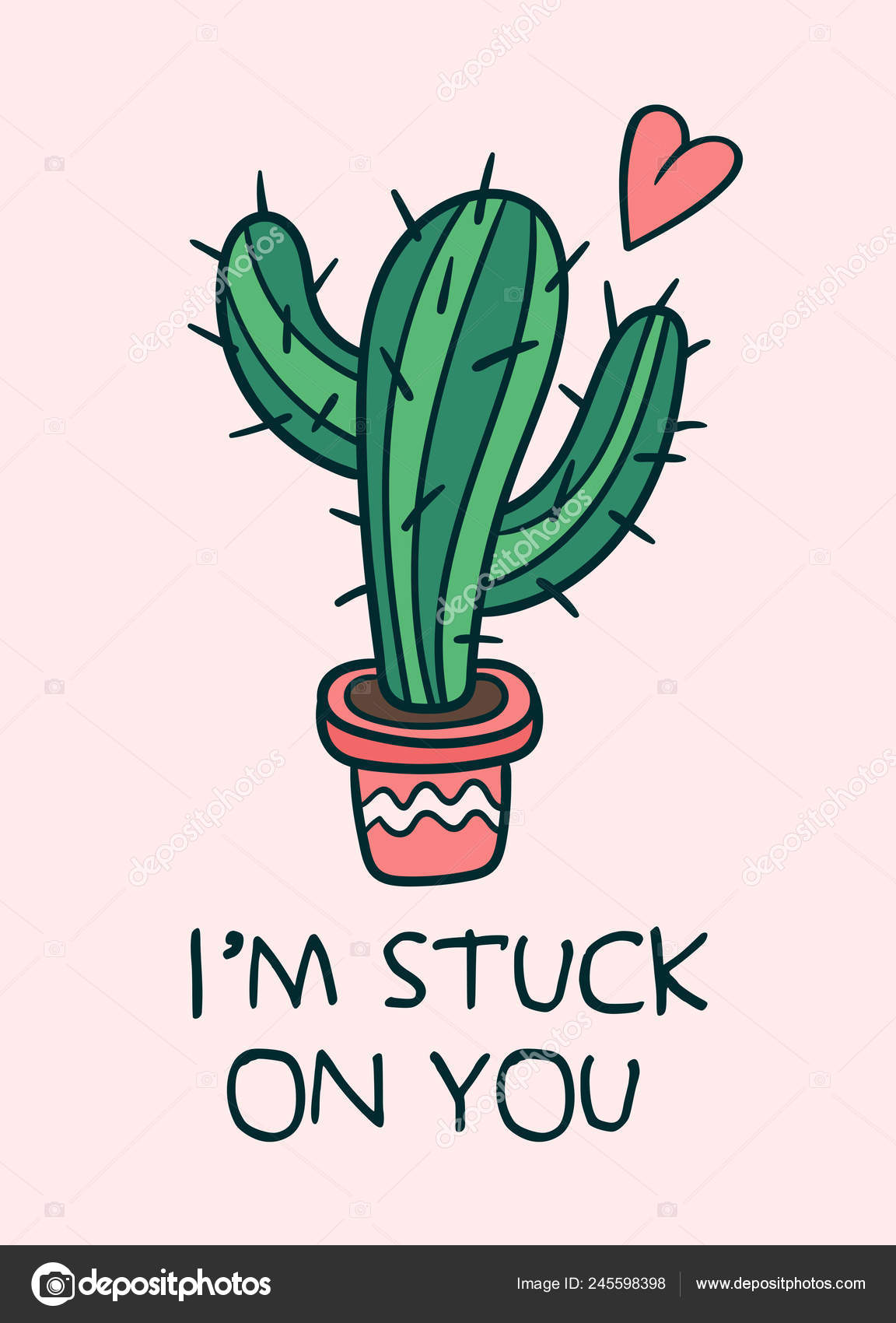 Wallpapers Sweet Cute Love Love Theme Illustration Cute Cactus