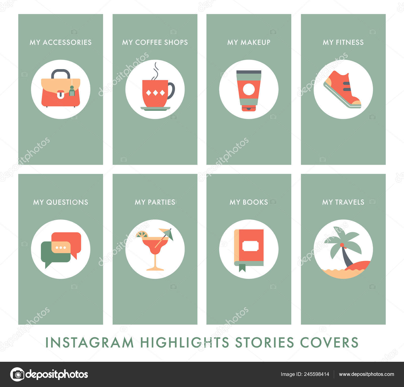 Great Beautiful Icons Social Network Highlights Covers Icons