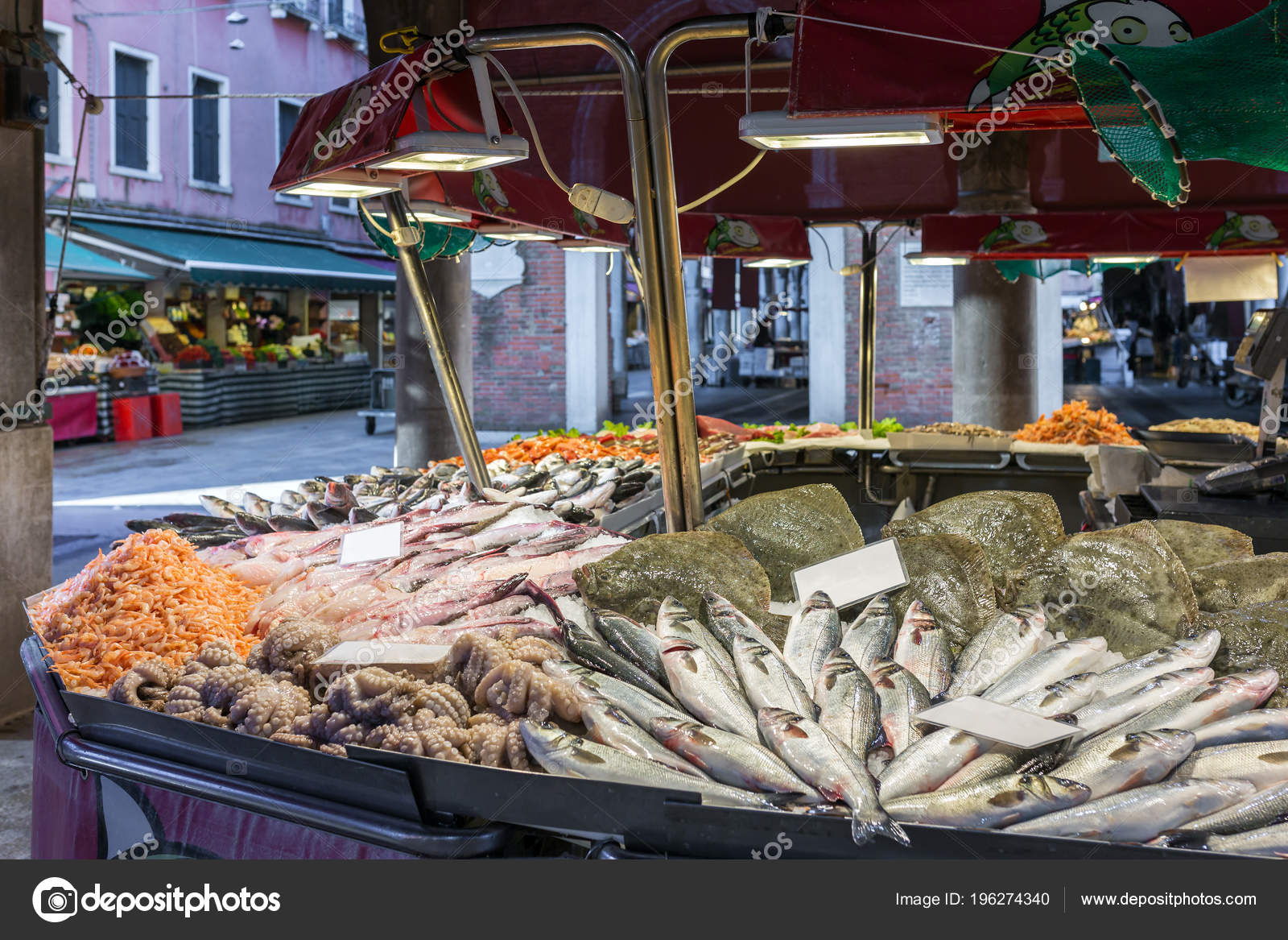 Stall Seafood Sale Venetian Fish Market Venice Italy — Stock
