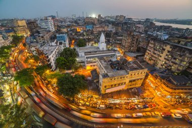 aerial view of Kolkata city at night, West Bengal, India