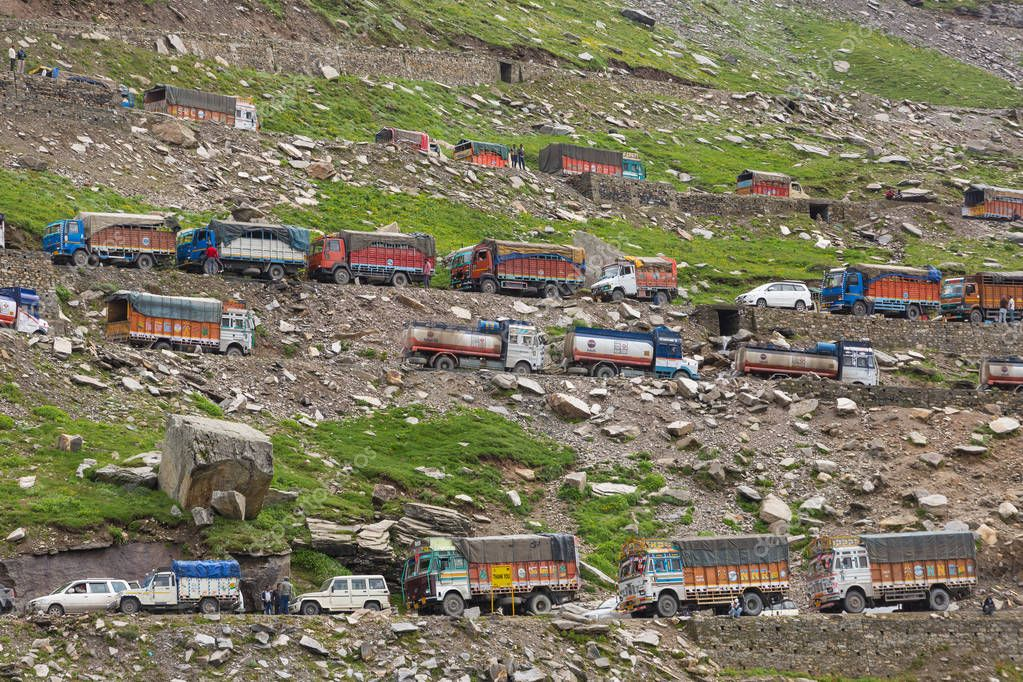 Manali, India - July 19, 2017: Many cars and trucks stuck in traffic jam at Rohtang pass due to landslide in Himachal Pradesh state, Northern India