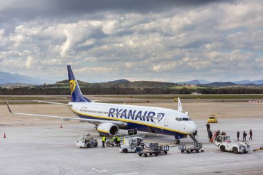 Girona, Spain - March 29, 2018: Ryan air passengers Boeing 737 in airport Girona