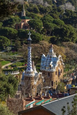 Famous Casa del Guarda in Park Guell in Barcelona, Spain. Aerial view