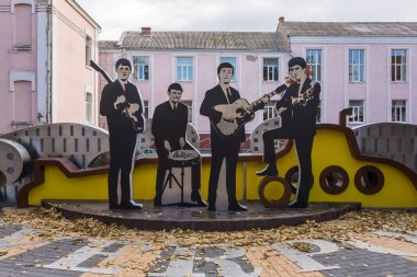 Vinnitsya, Ukraine - October 13, 2017: The Beatles monument in Vinnitsya city center, Ukraine