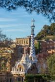 Fotografie Pohled na Sunrise Park Guell navrhl Antoni Gaudí, Barcelona, Španělsko
