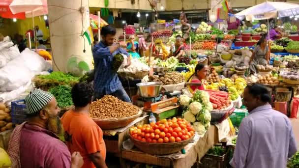 Colorful indian food market with fruits and vegetables in Panaji, Indi
