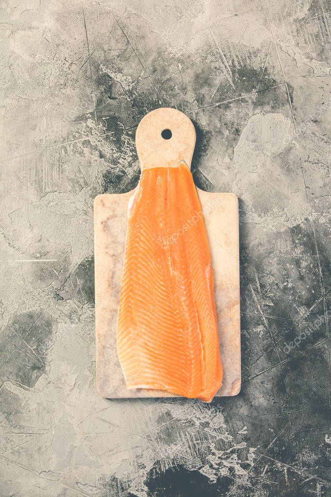 Raw salmon filet