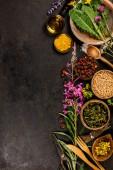 Fotografie Flat lay of wild healing herbs