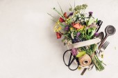 Fotografie Flat lay of wild healing herbs and flowers. Clean eating, paleo, biohacking, herbal medicine concept
