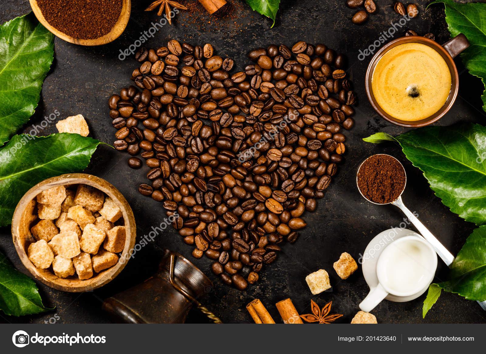 Kreative Flach Zu Legen Mit Kaffee Milch Und Zucker Stockfoto