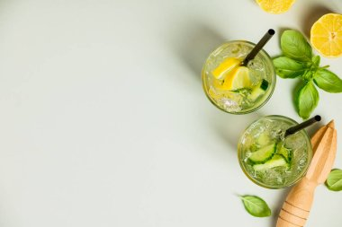 Healthy homemade lemonade or cocktail
