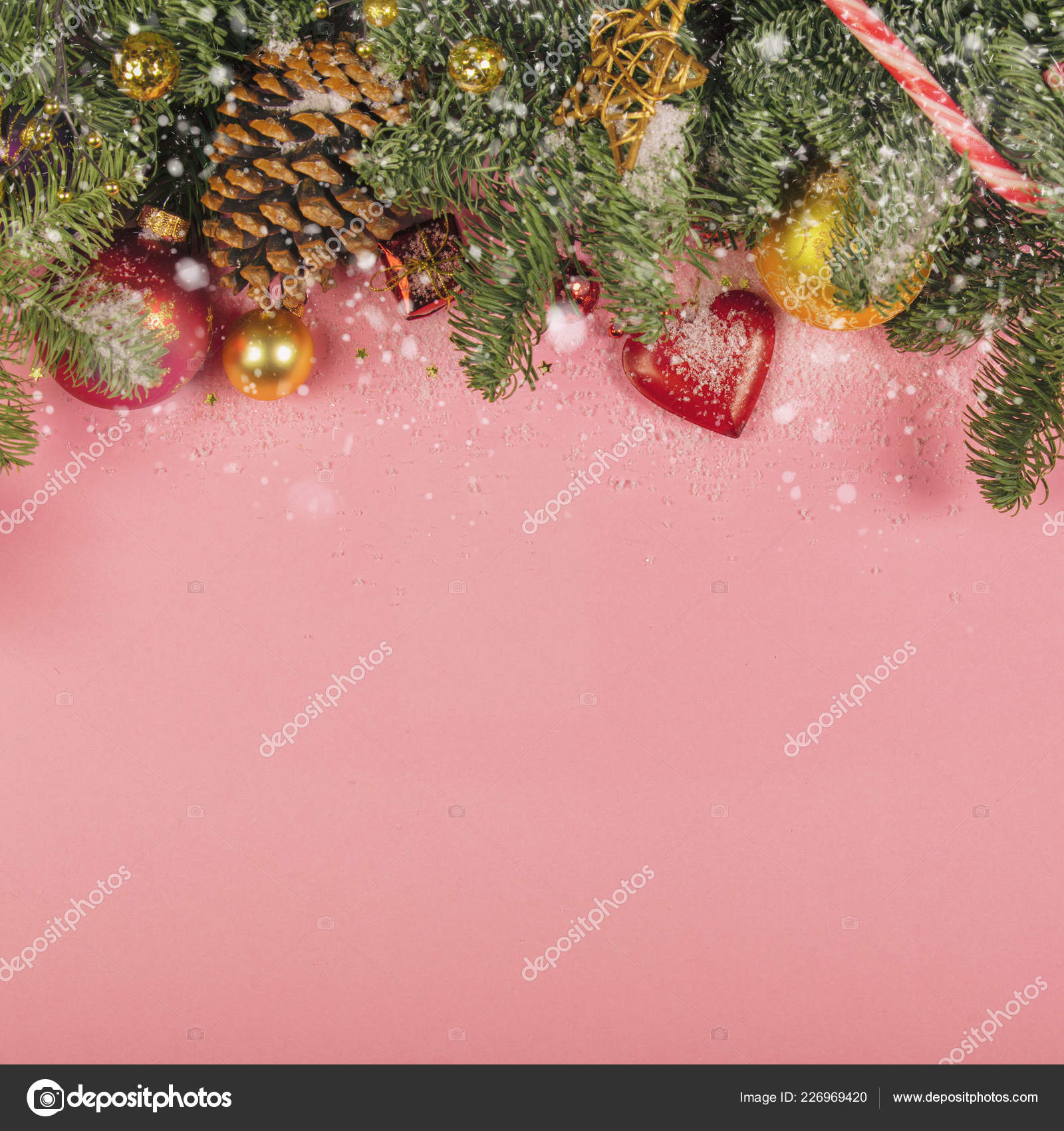Christmas Decorations Background Top View Flat Lay