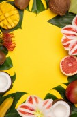 Creative flat lay with tropical fruits and plants and space for your text