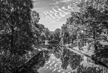 Beautiful autumn park in Riga. stock vector