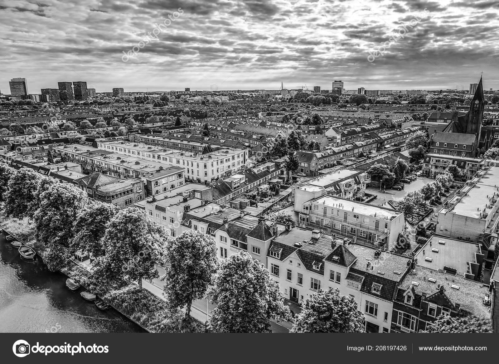 Utrecht city top black white photo stock photo