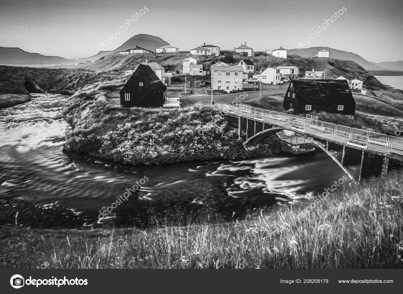 Traditional icelandic village houses beautiful morning landscape black white photo stock photo