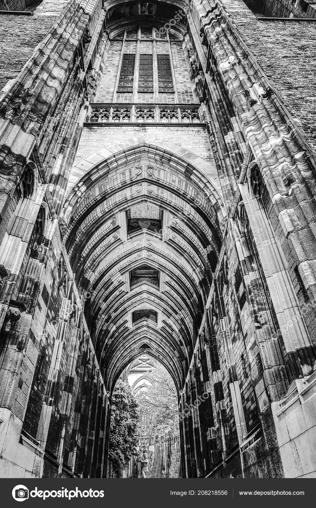 Ancient european church in utrecht black white photo