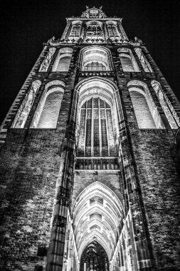 Ancient European church in Utrecht. Black-white photo.