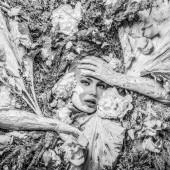 Fotografia Ragazza di fiaba nella stilizzazione di fantasia. Foto in bianco-nero