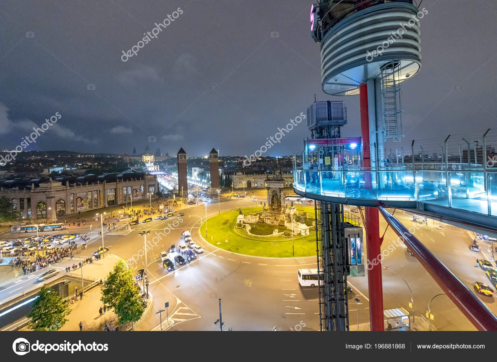 Barcelona May 2018 Night Aerial View Spain Square Arena